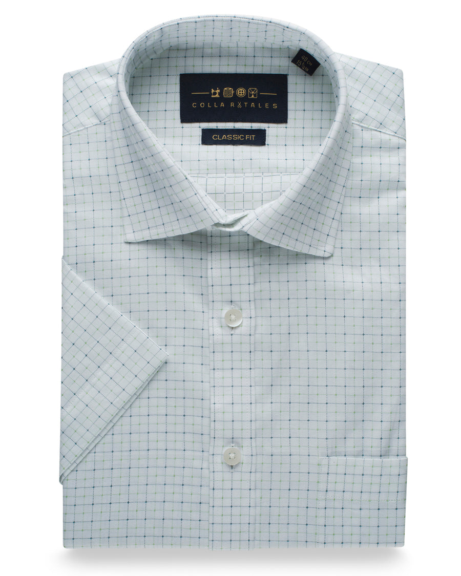 Cotton Half Sleeve Checkered Shirt - White