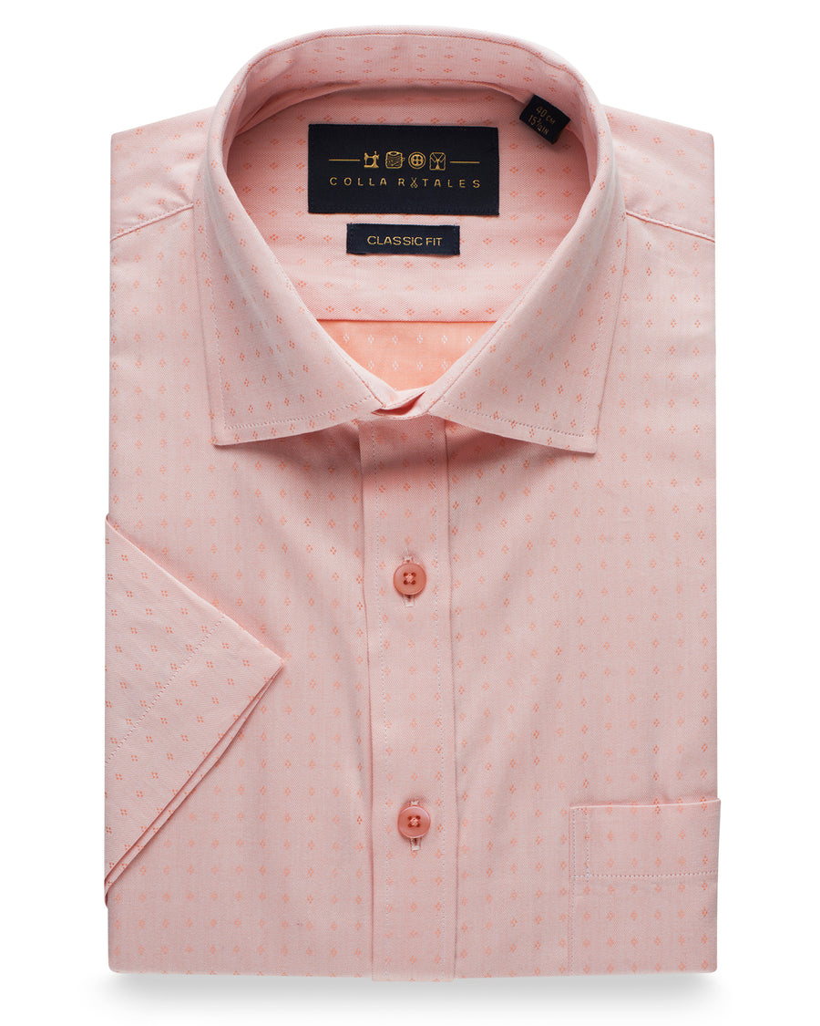 Cotton Half Sleeve Checkered Shirt - Peach