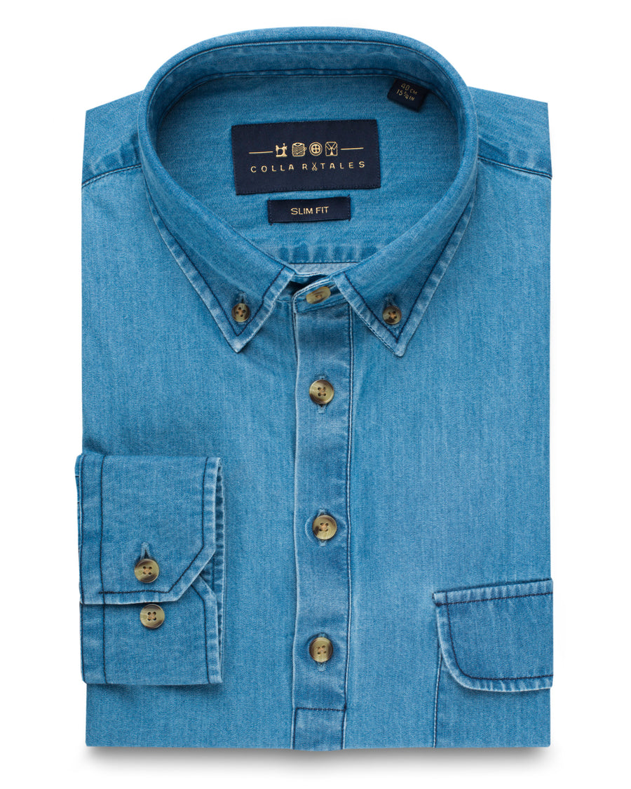 Classic Popover Denim Shirt - Light