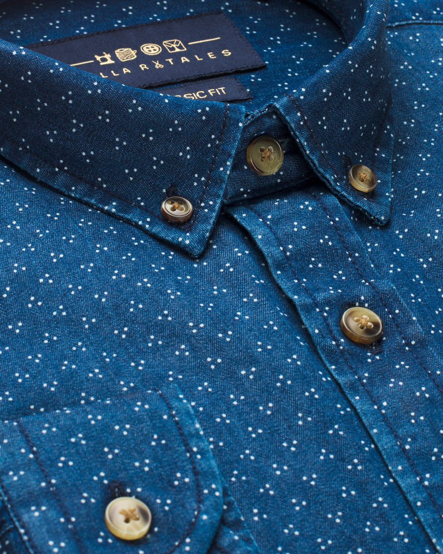Classic Printed Button Down Denim Shirt - Indigo
