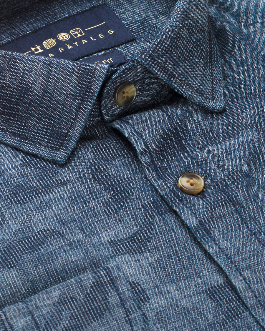 Washed Geometric Denim Shirt - Blue Airforce