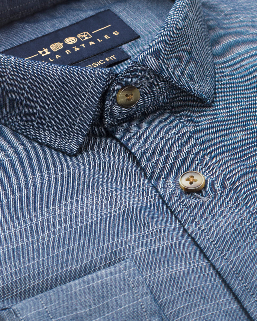 Lightweight Chambray Denim Shirt - Walker Blue