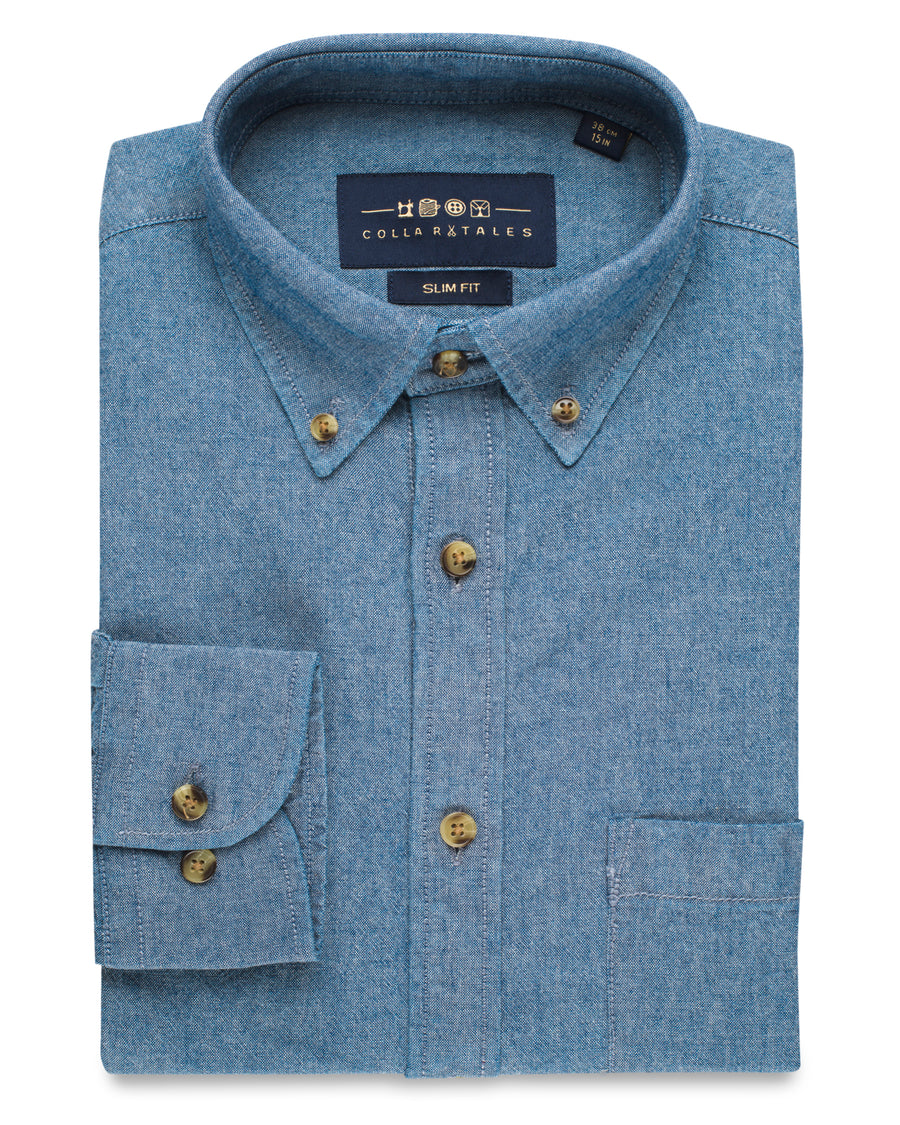 The Brush Off Denim Shirt - Chambray Blue