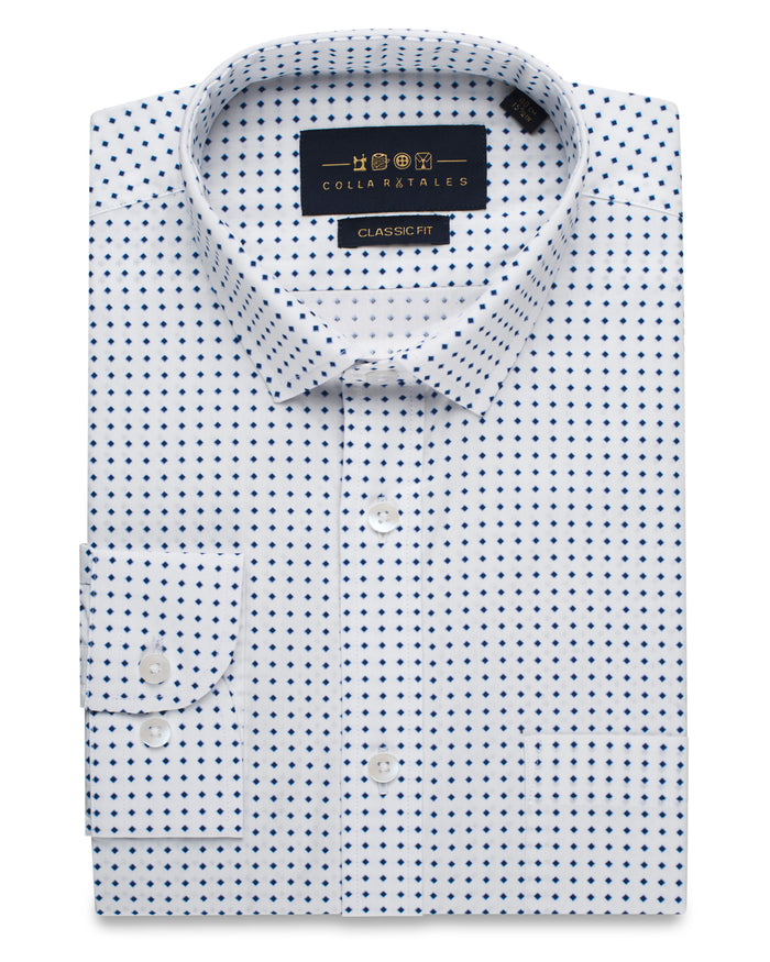 Blue and White Dot Shirt ( 44 Regular only )