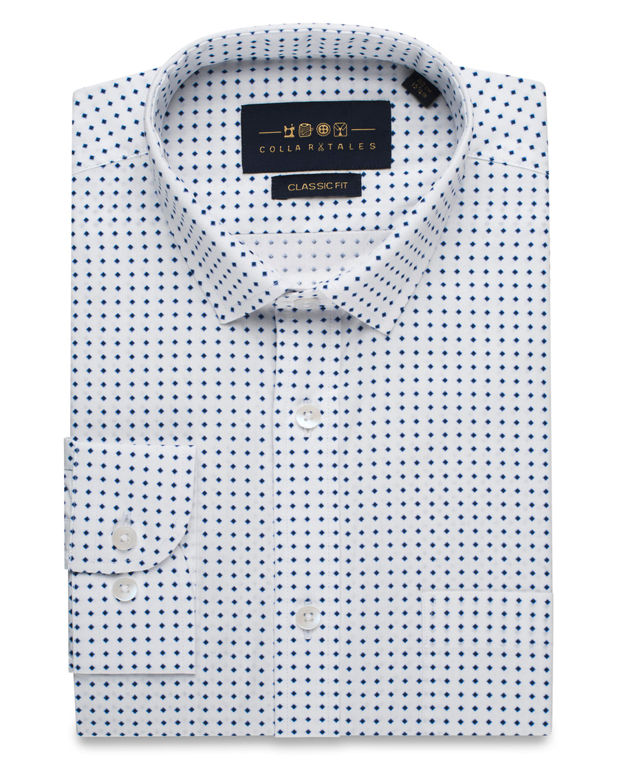 Blue and White Dot Shirt