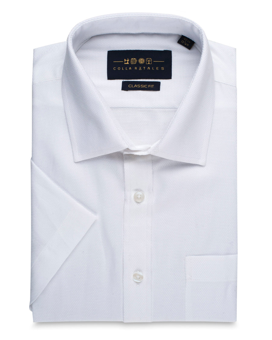 Dobby Half Sleeve Shirt - Salt White