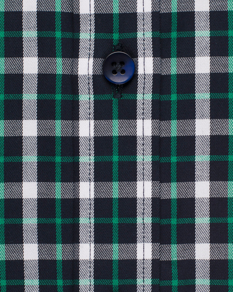 Narrow Collar Checkered Shirt - Green/Navy