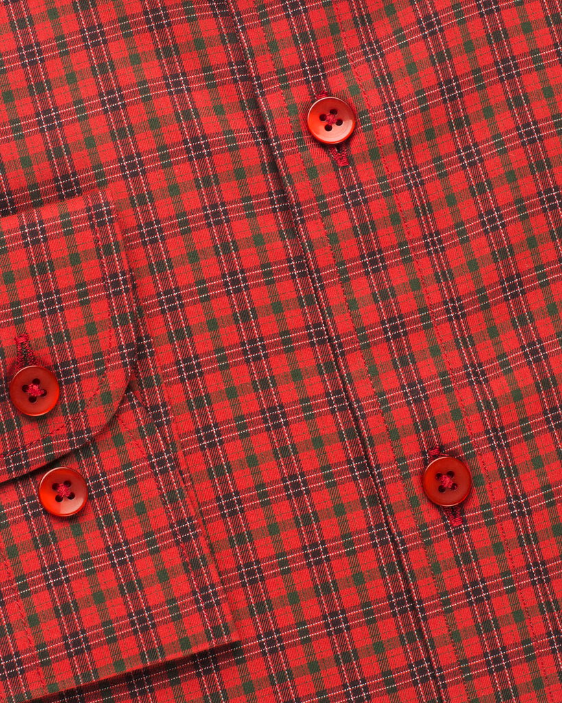 Narrow Collar Checkered Shirt - Red/Green