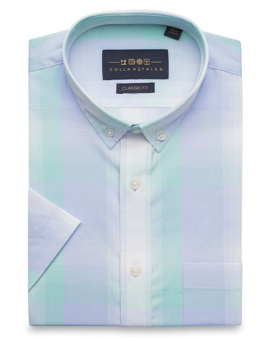 Business Casual Shirts - Aqua Blue Checkered Half Sleeve Shirt