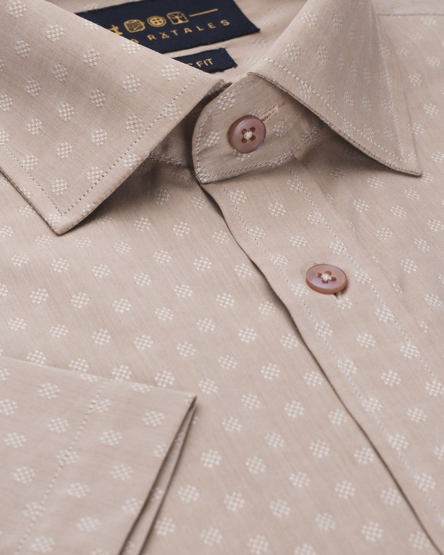 Business Casual Shirts - Beige Dobby Half Sleeve Shirt