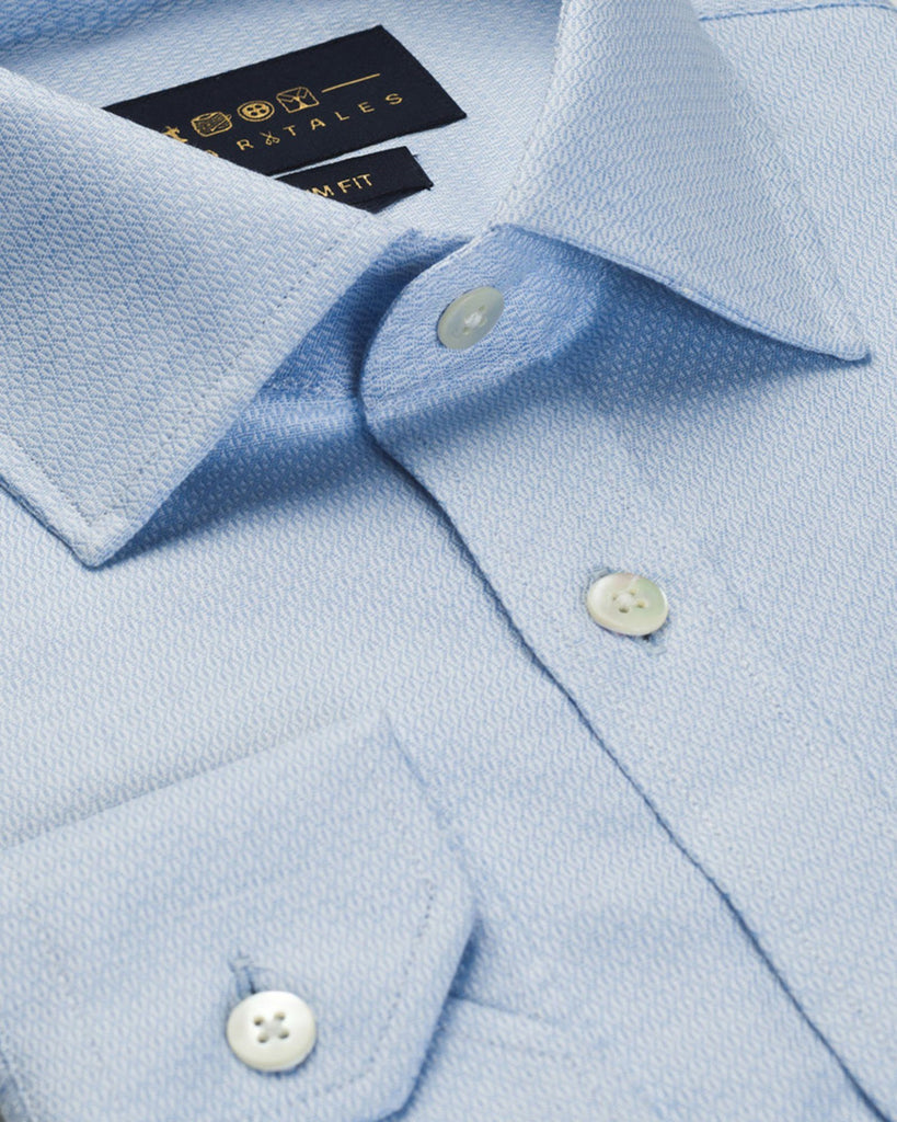 Business Casual Shirts - Blue Micro Pattern Shirt