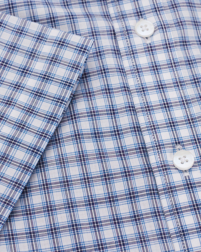 Business Casual Shirts - Blue & White Checkered Half Sleeve Shirt