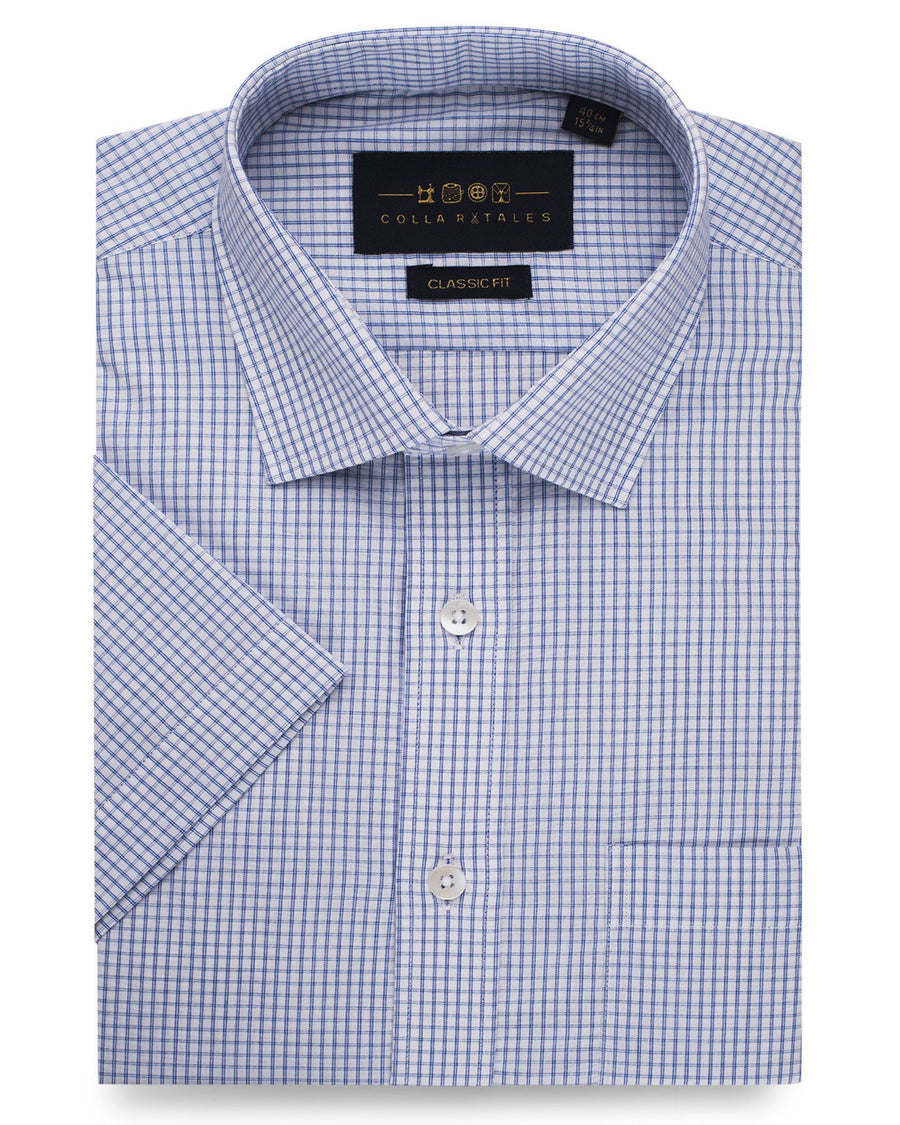 Business Casual Shirts - Blue & White Cotton Gingham Check