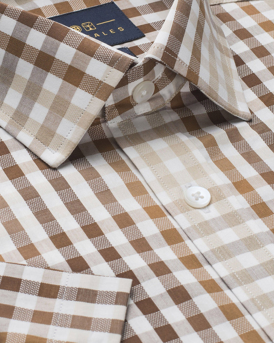 Business Casual Shirts - Brown Check Half Sleeve Shirt