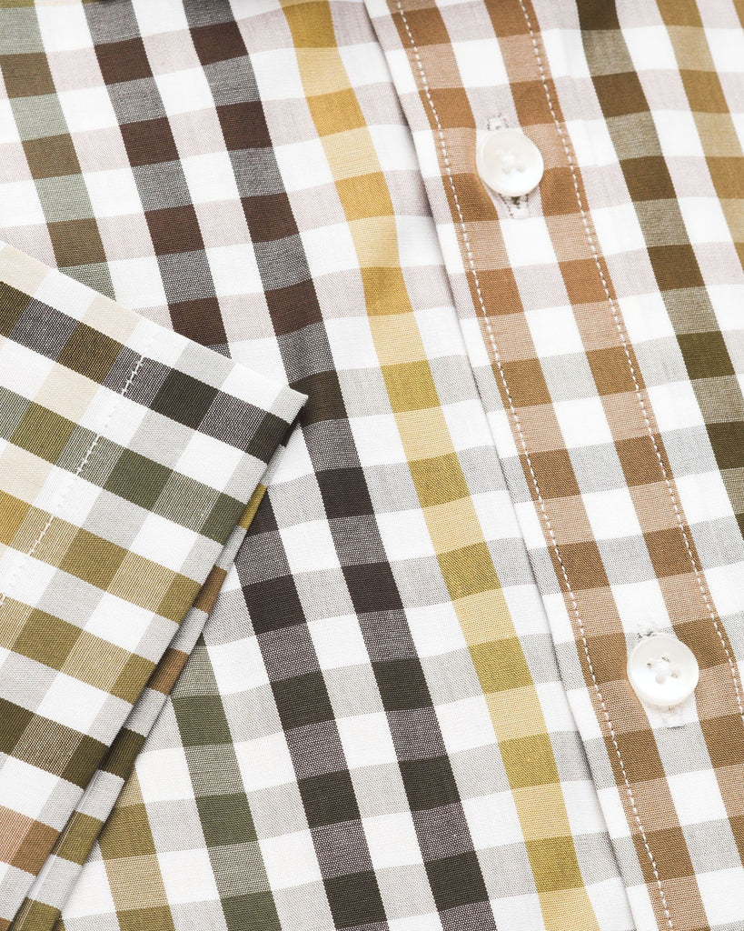 Business Casual Shirts - Brown & Green Check Half Sleeve Shirt