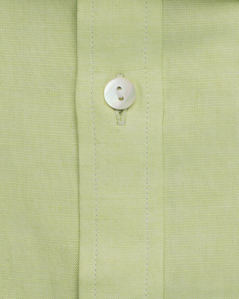 Business Casual Shirts - Cotton Linen Half Sleeve Shirt - Green