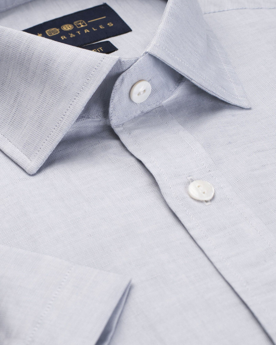 Business Casual Shirts - Cotton Linen Half Sleeve Shirt - Grey