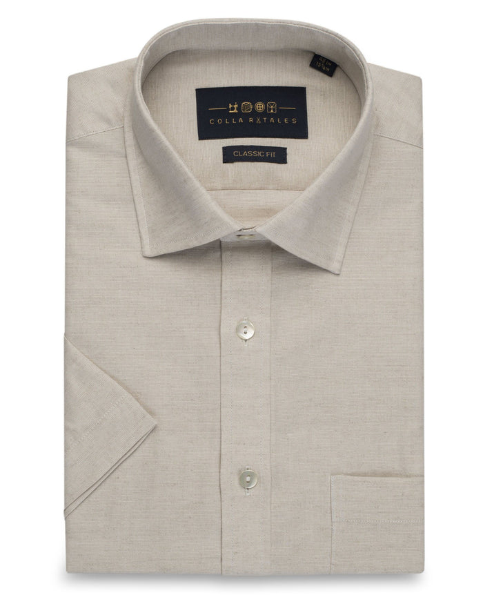 Business Casual Shirts - Cotton Linen Half Sleeve Shirt - Khaki