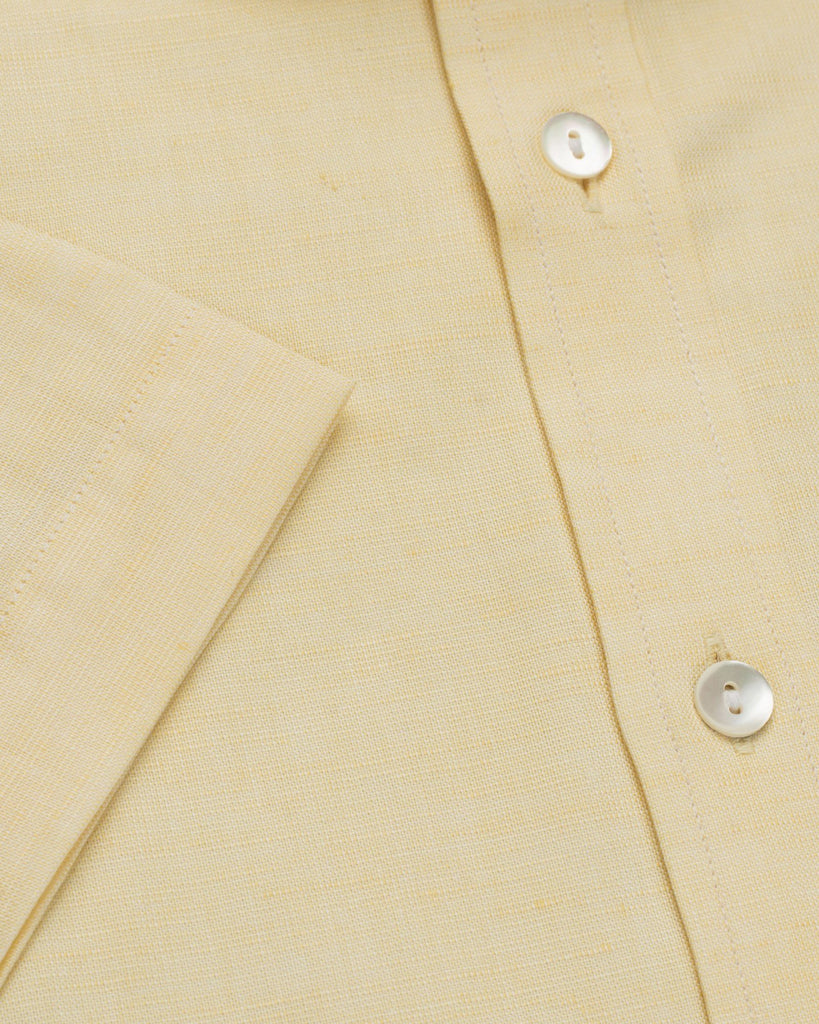 Business Casual Shirts - Cotton Linen Half Sleeve Shirt - Lemon