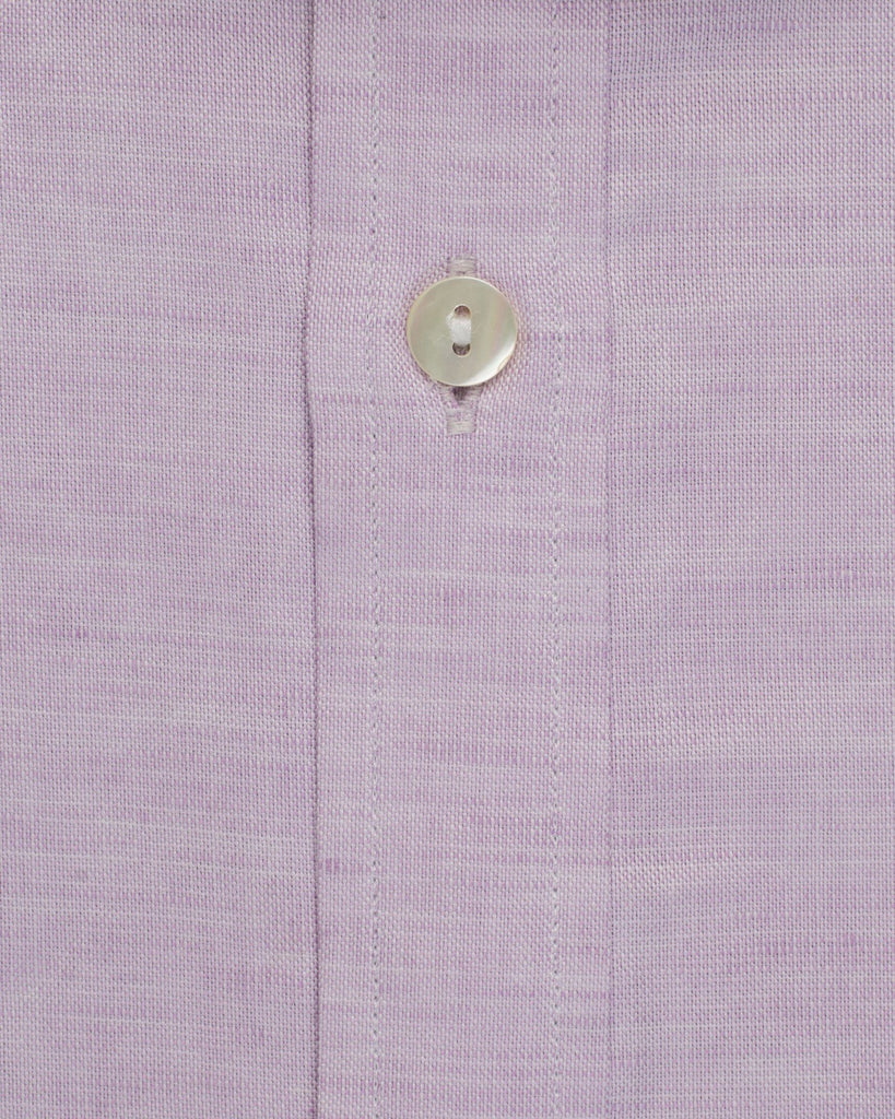 Business Casual Shirts - Cotton Linen Half Sleeve Shirt - Lilac