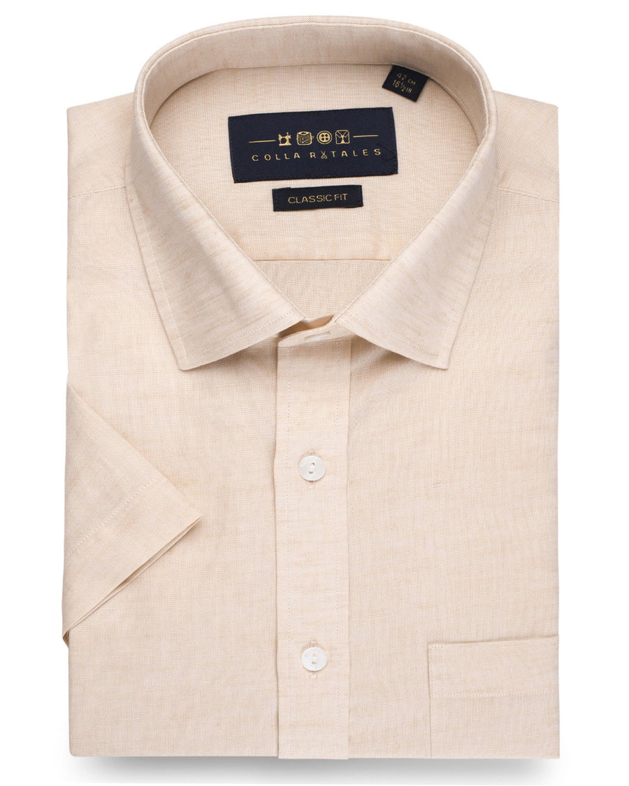 Business Casual Shirts - Cotton Linen Half Sleeve Shirt - Salmon