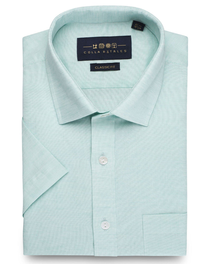Business Casual Shirts - Cotton Linen Half Sleeve Shirt - Sea Green