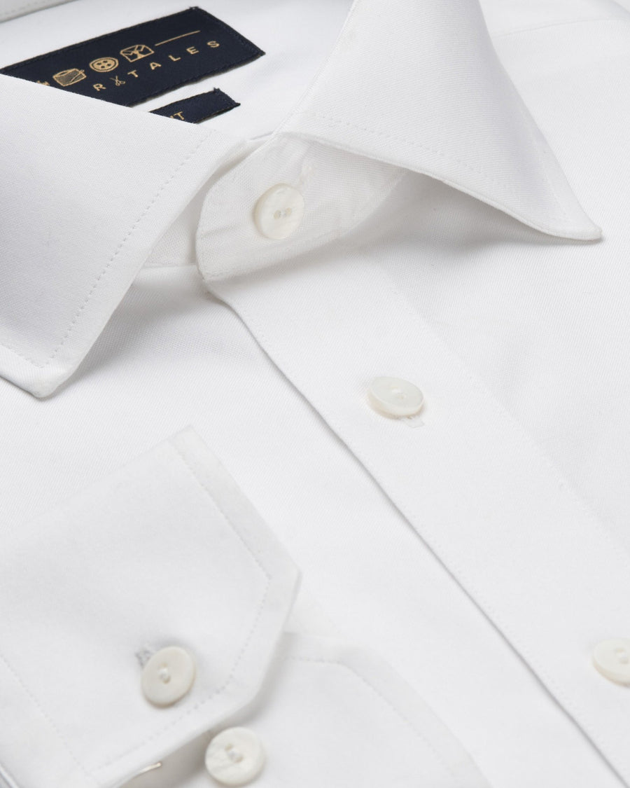 Business Casual Shirts - Pin Point Oxford - White
