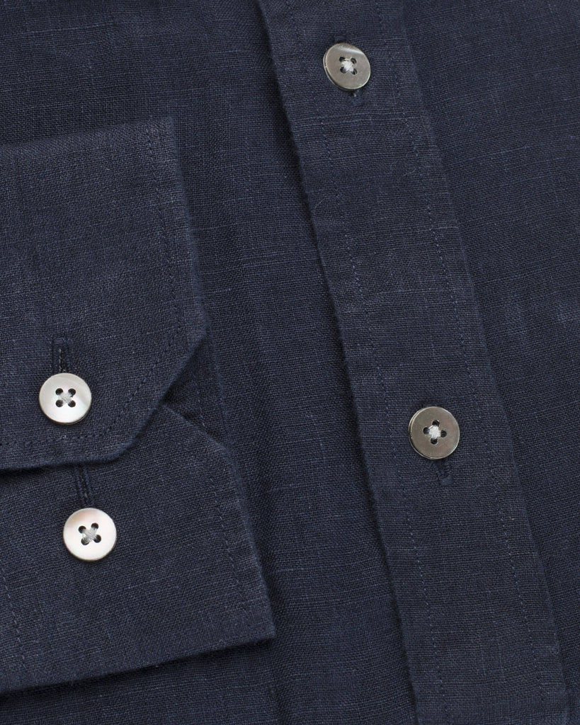 Business Casual Shirts - Prussian Blue Linen Shirt