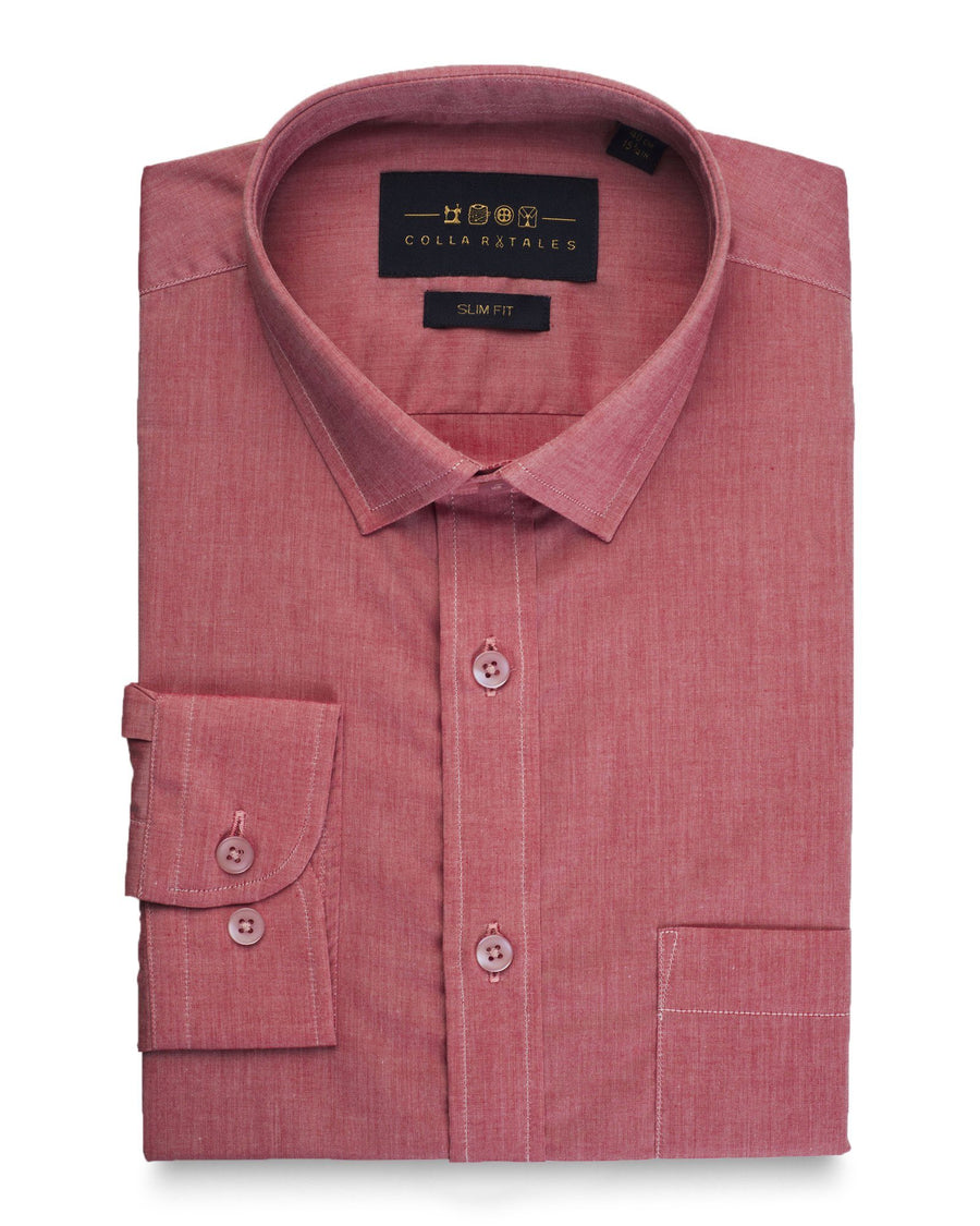 Business Casual Shirts - Red Solid Shirt