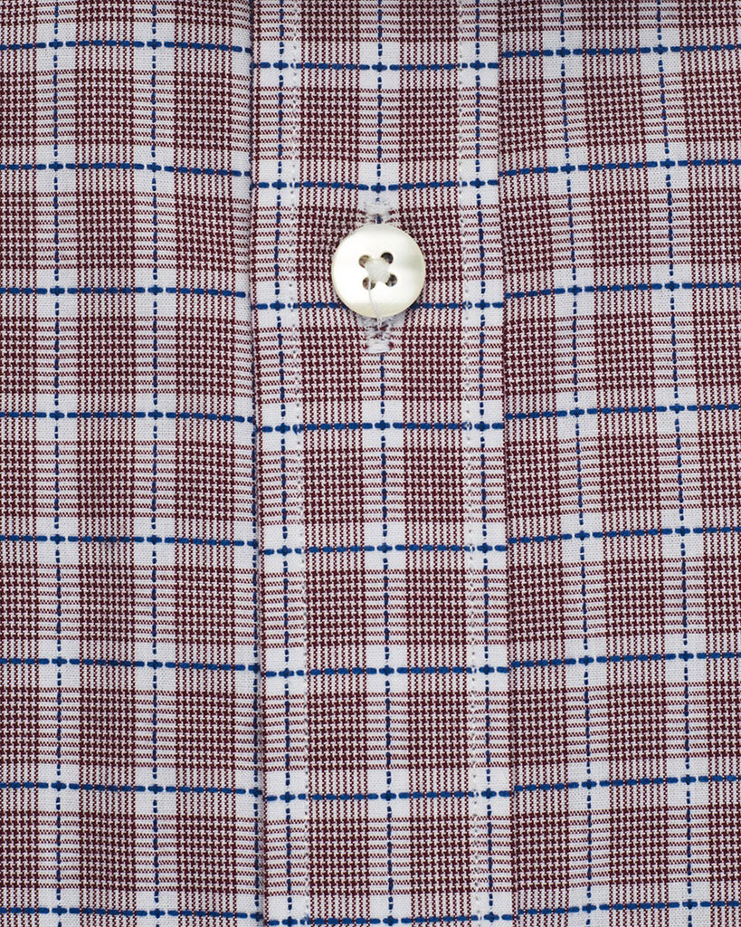 Business Casual Shirts - Rust Plaid Check Shirt