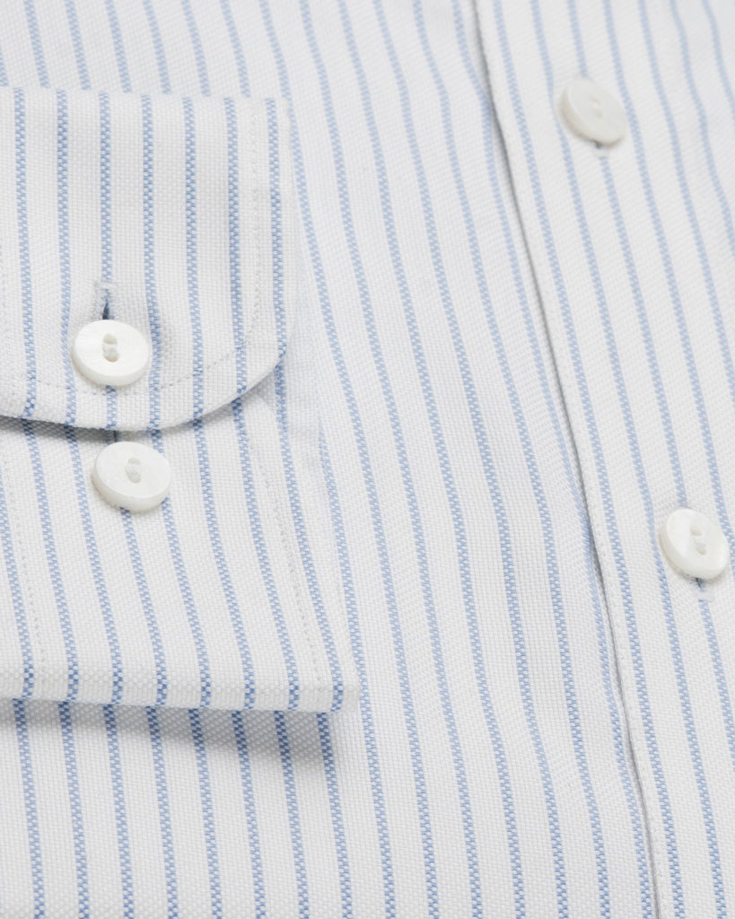 Business Casual Shirts - Stripe Oxford - White/Blue