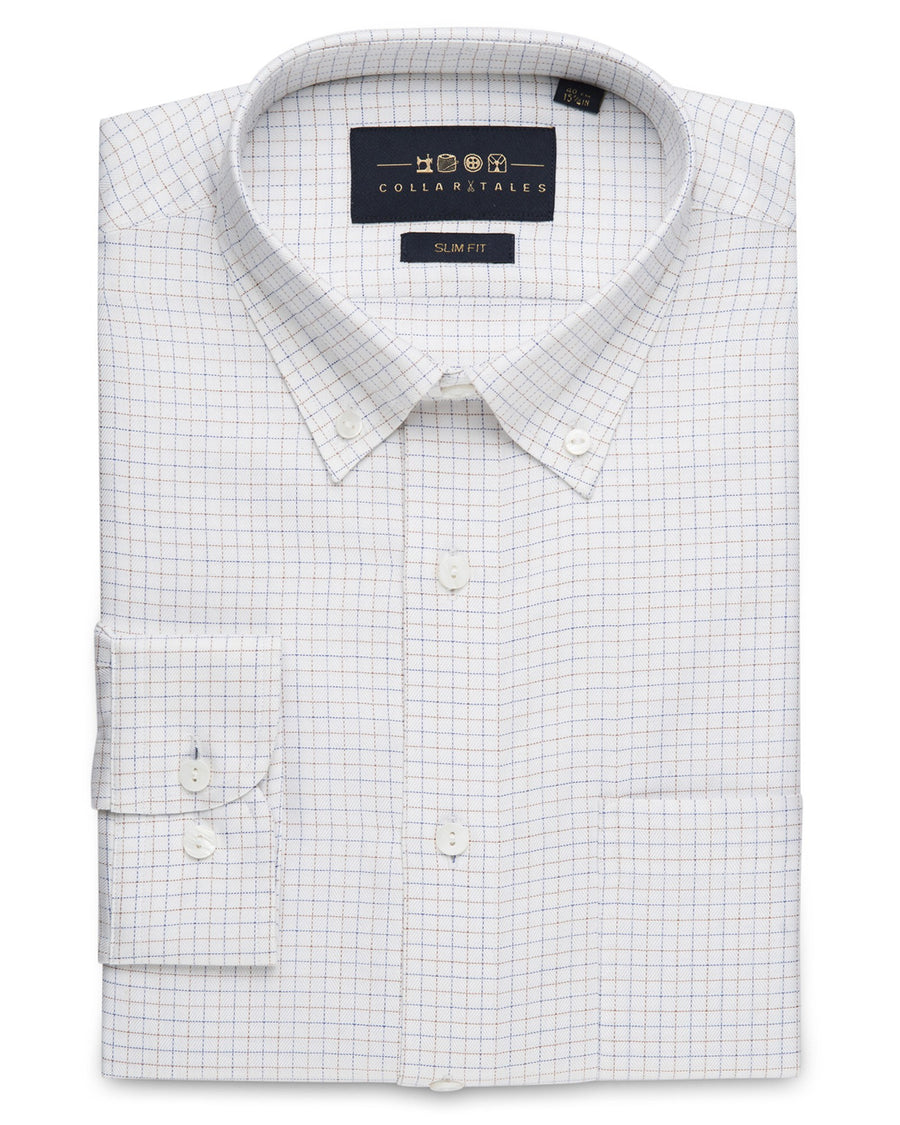 Business Casual Shirts - Tattersall Check - Red/Blue