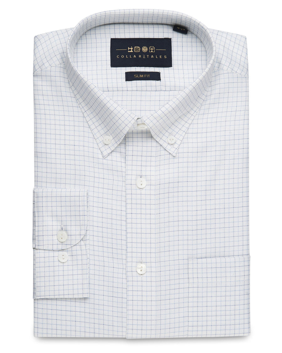 d50652ad500 Business Casual Shirts - Tattersall Check - White Blue ...