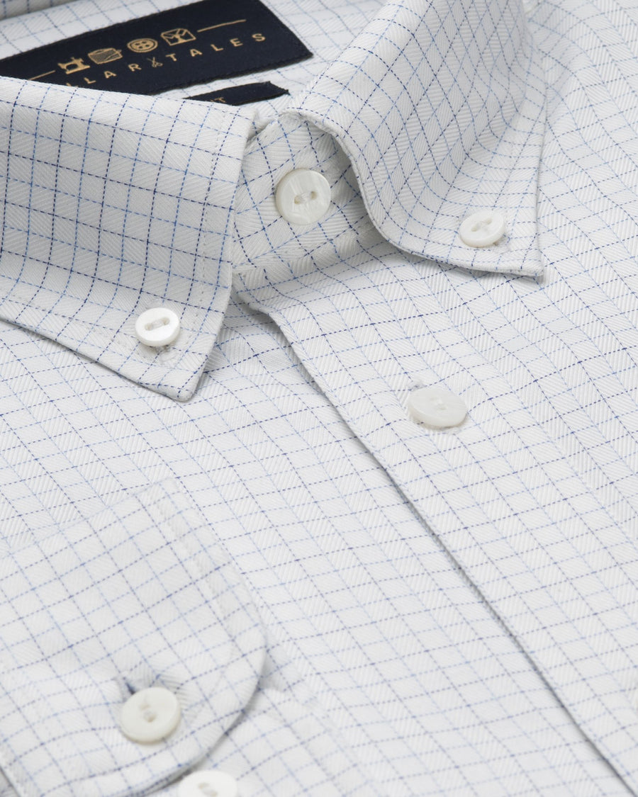 Business Casual Shirts - Tattersall Check - White/Blue