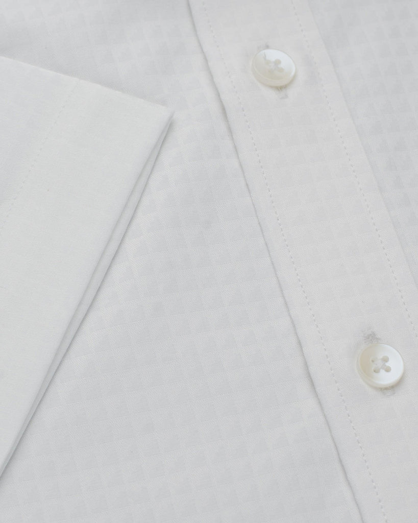 Business Casual Shirts - White Dobby Half Sleeve Shirt
