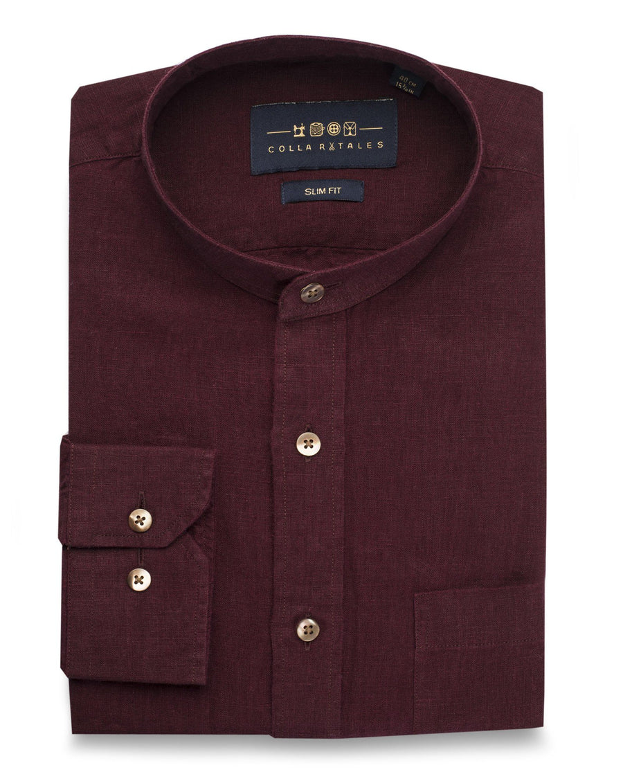 Business Casual Shirts - Wine Linen Shirt