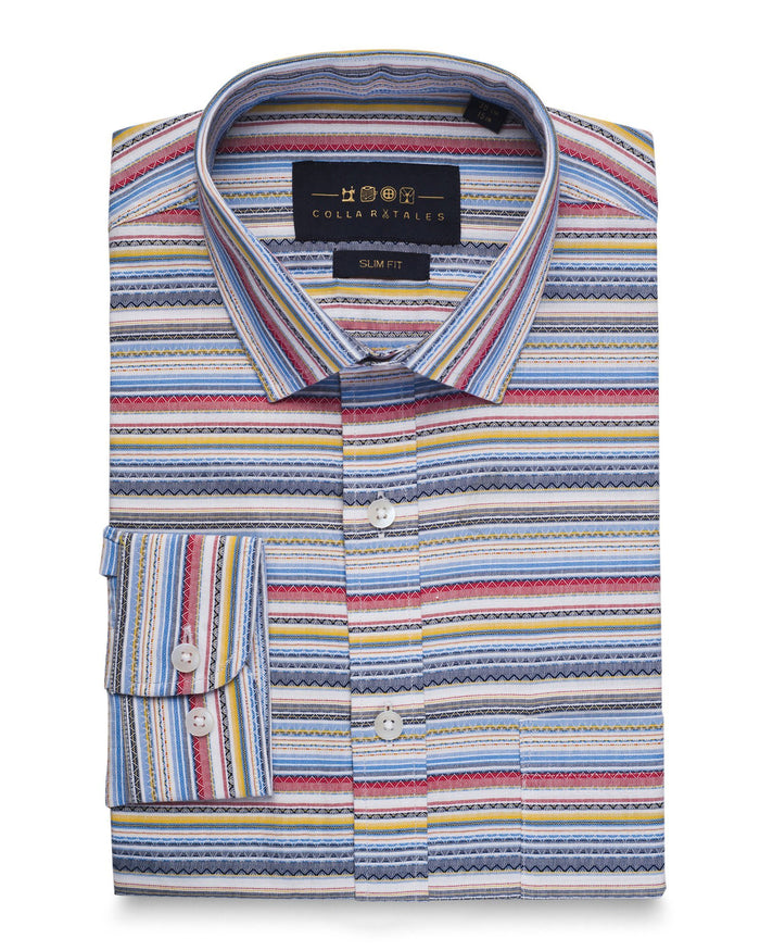 Casual Shirts - Azotec Pattern Multi Color Shirt