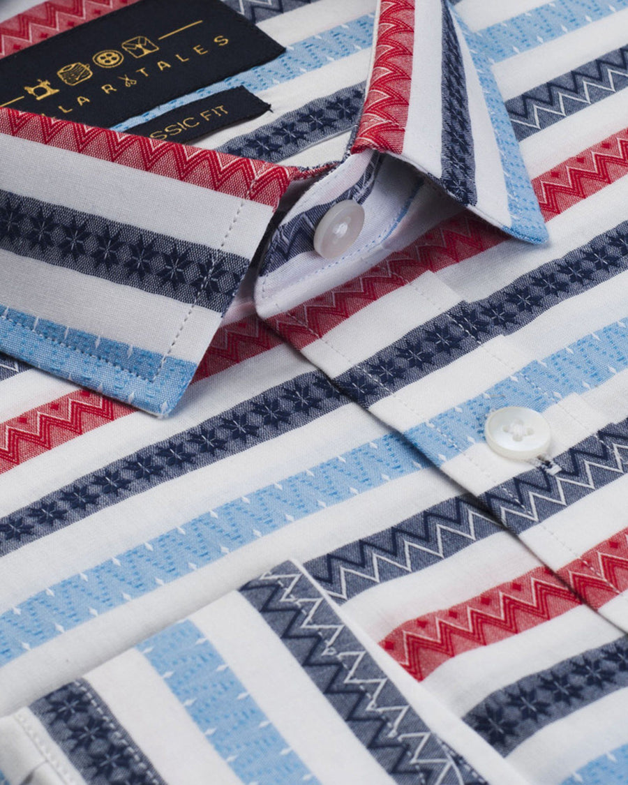 Casual Shirts - Azotec Pattern - Red/Blue Shirt