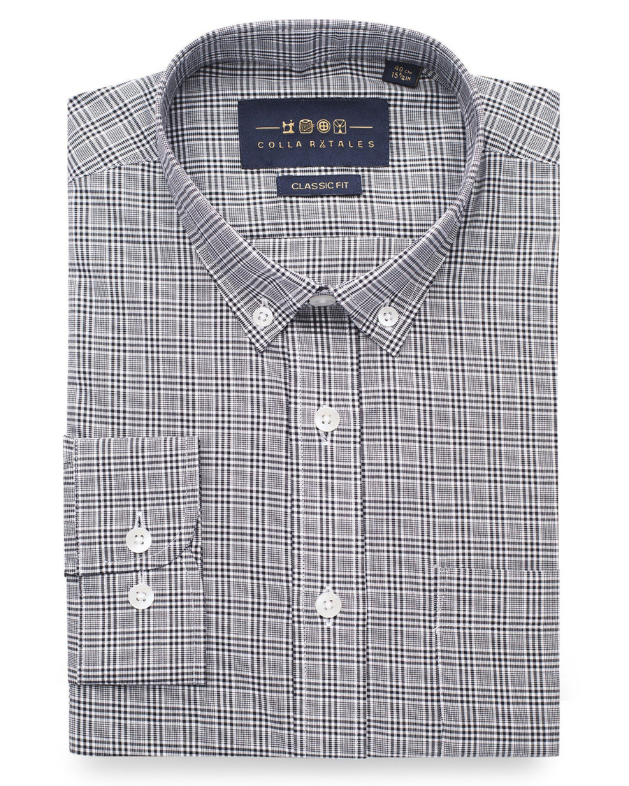 Casual Shirts - Black Glen Plaid Shirt