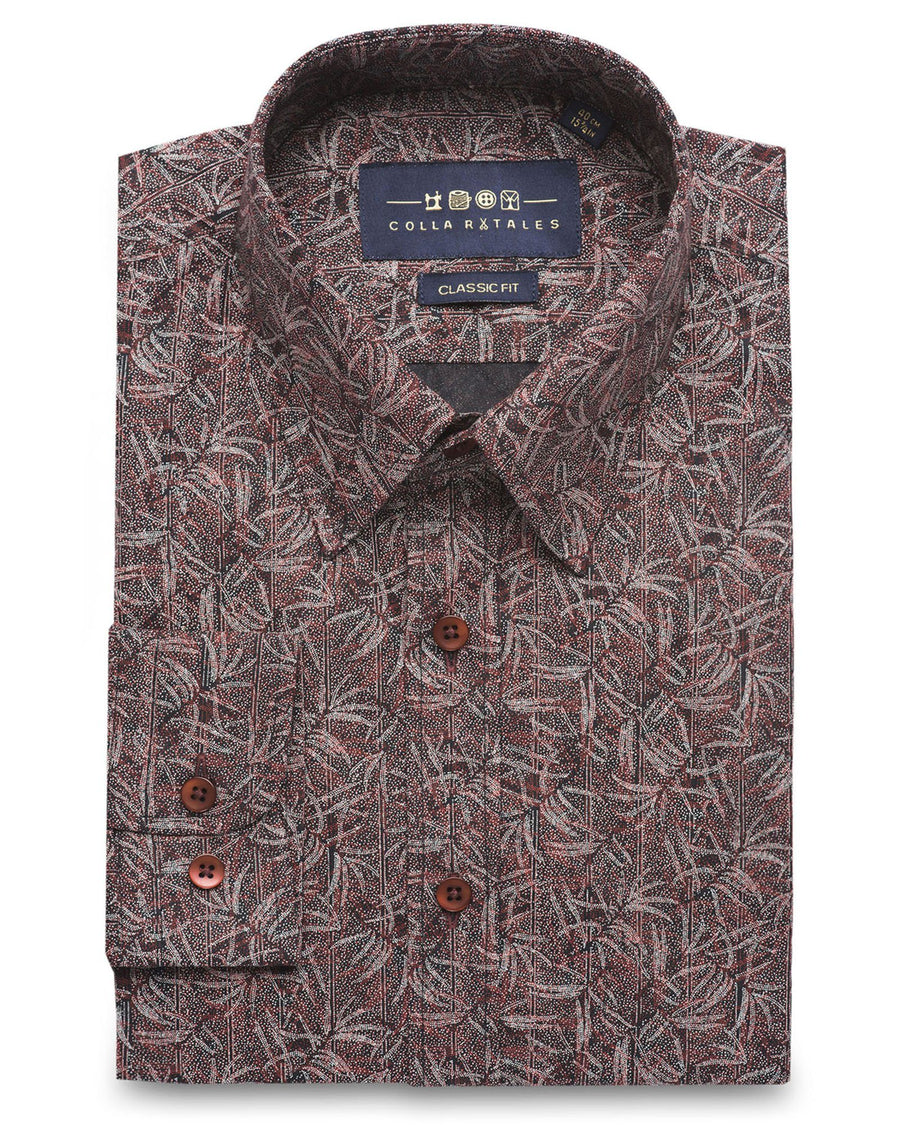 Casual Shirts - Brown Jungle Print Shirt ( 44- Reg Only )