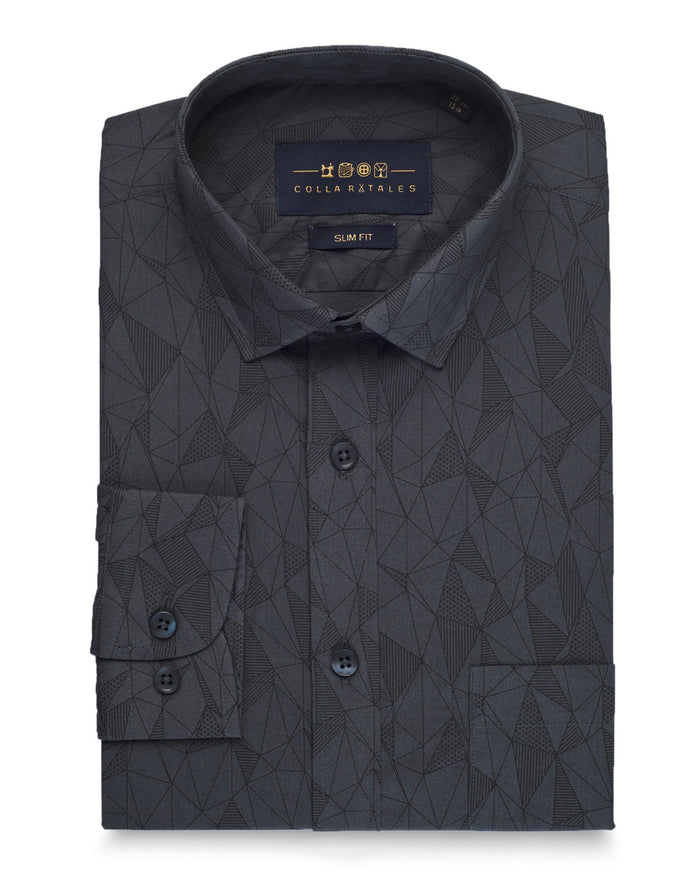 Casual Shirts - Grey Geometric Print Shirt