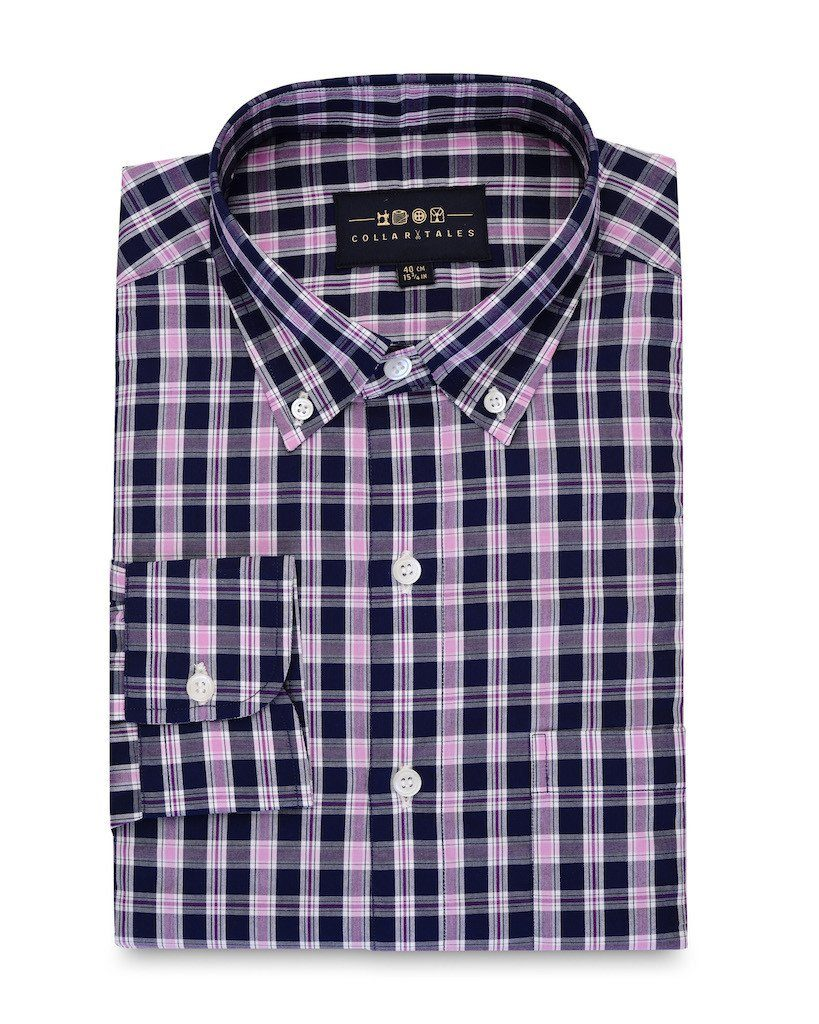 Casual Shirts - Navy And Pink Check