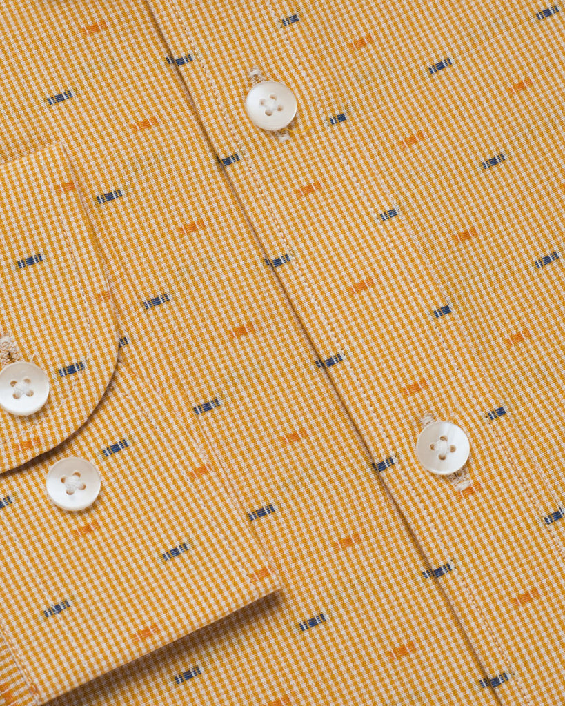 Casual Shirts - Orange Micro Check Shirt