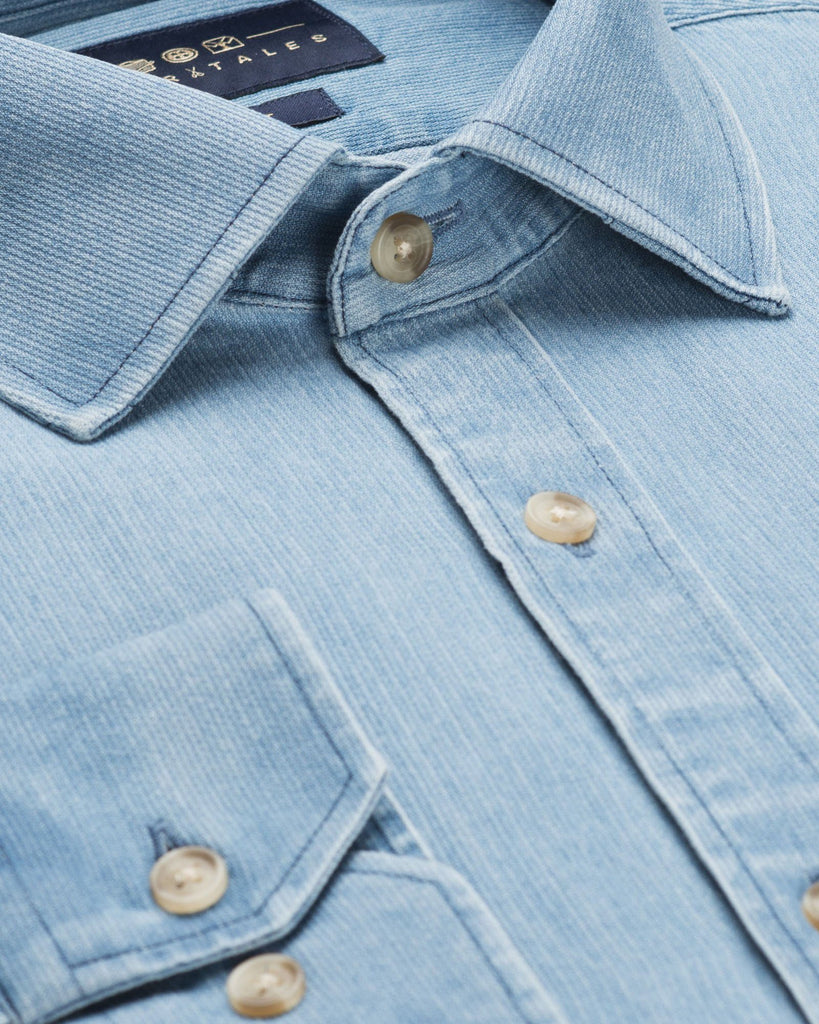 Casual Shirts - Washed Cord Denim Shirt - Light