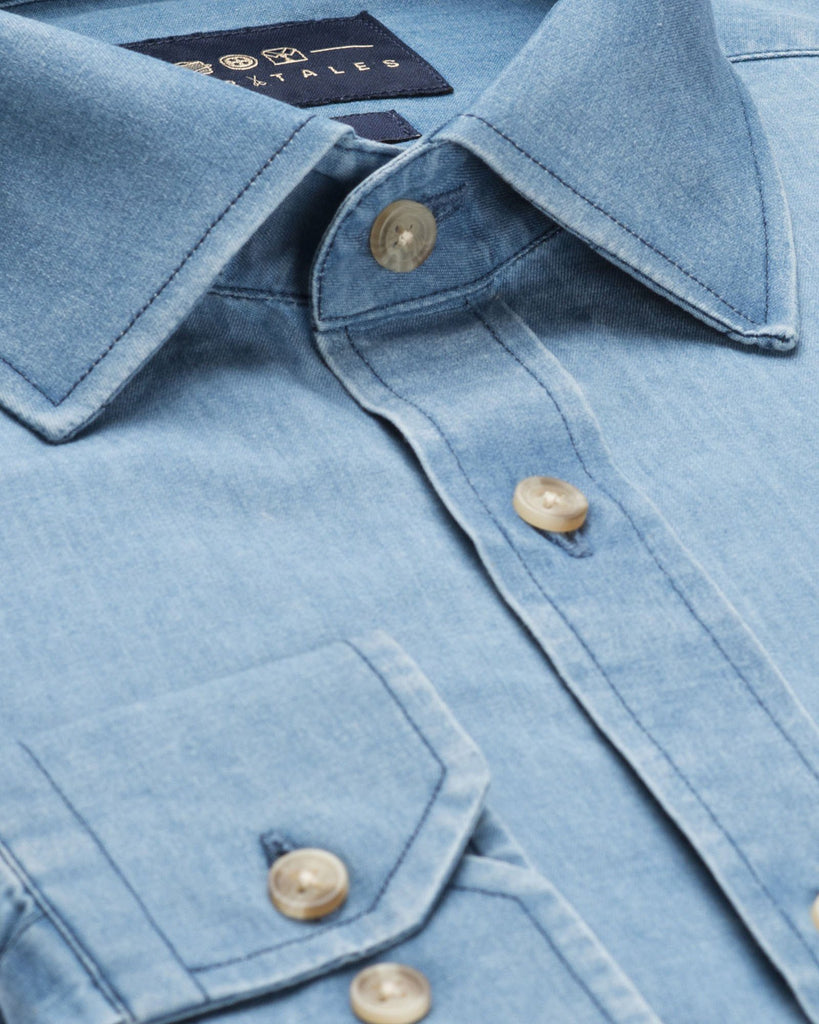 Casual Shirts - Washed Denim Shirt - Light