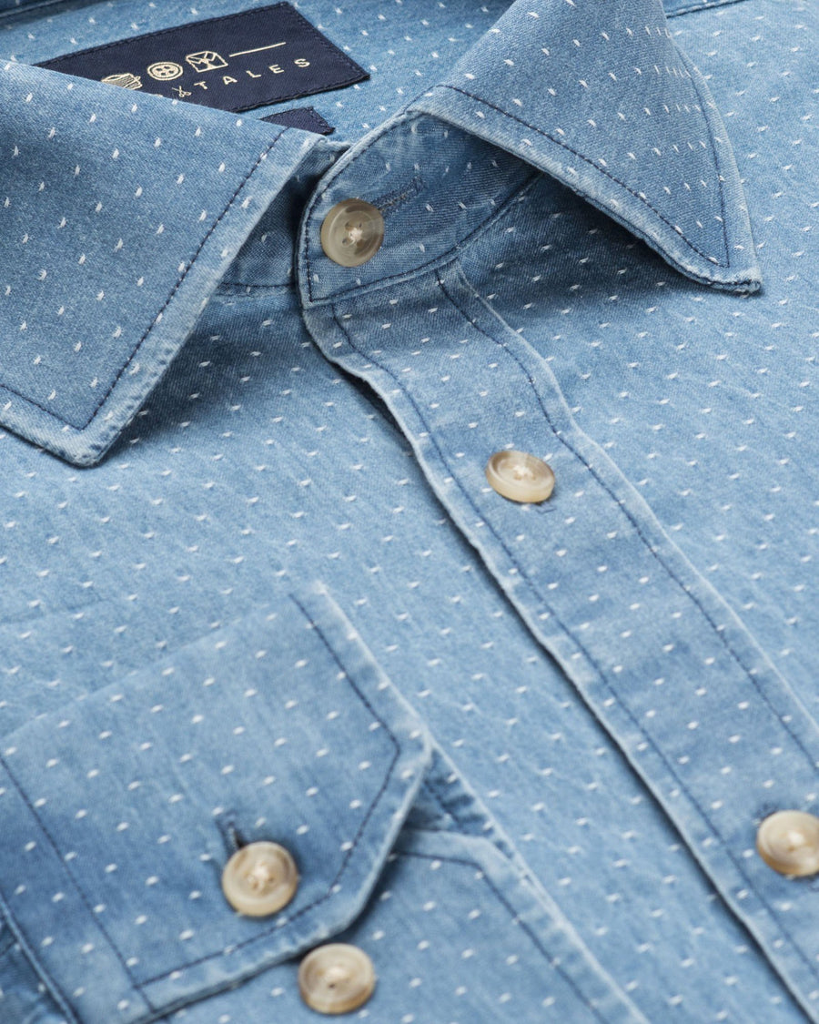 Casual Shirts - Washed Pinpoint Denim Shirt - Light