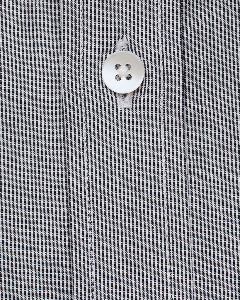 Dress Shirts - Black & White Cotton Stripes Shirt
