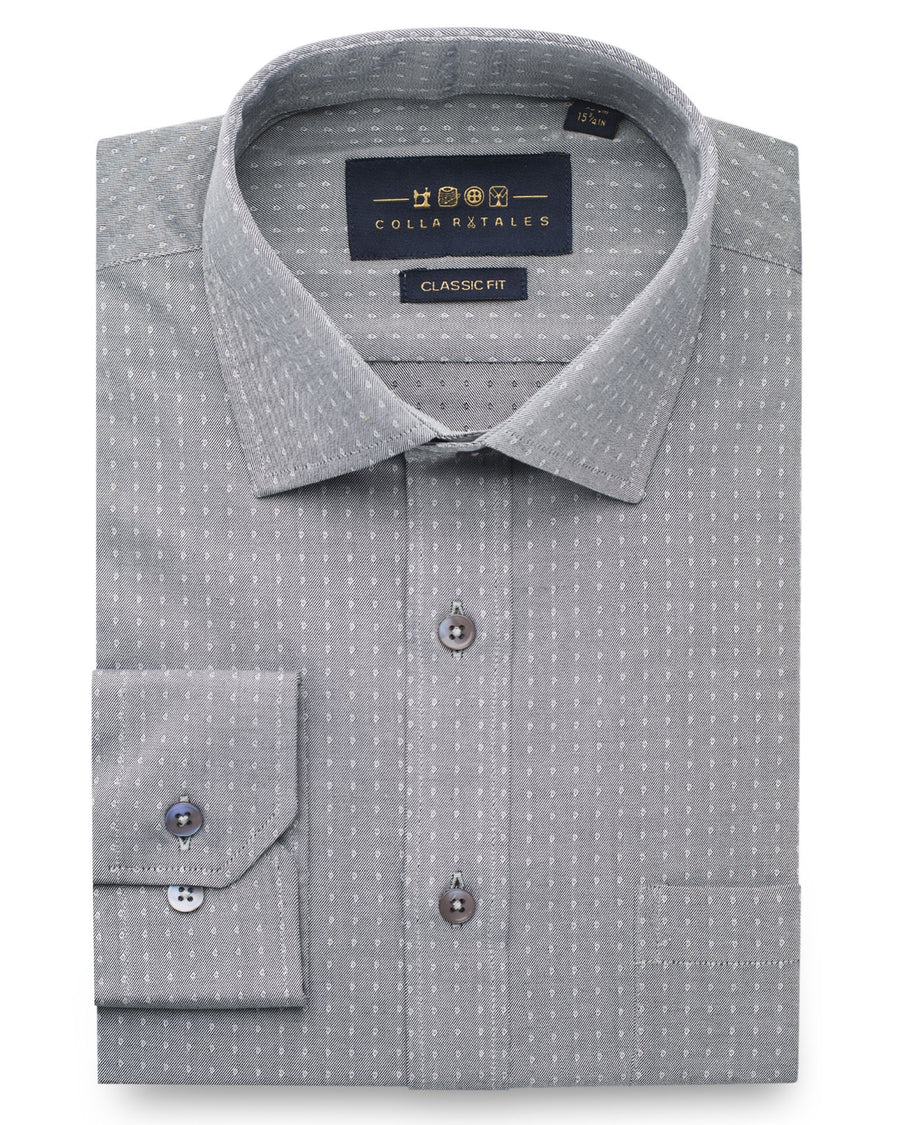 Dress Shirts - Grey Jacquard Twill Shirt