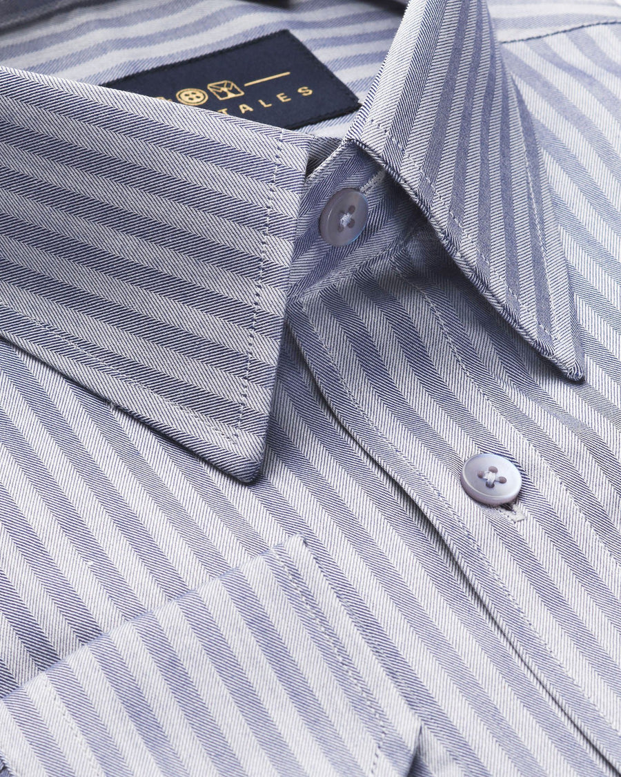 Dress Shirts - Herringbone - Lavender Stripe