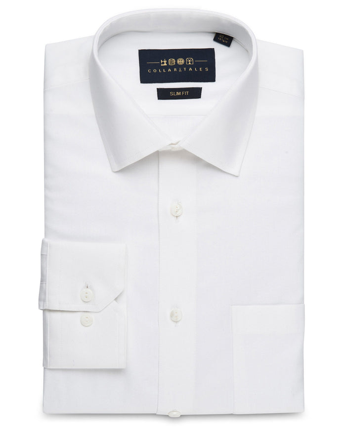 Dress Shirts - Herringbone - White